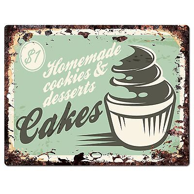 PP0292 Rust CAKES Sign Home Kitchen Store Shop Cafe Bakery Interior Decor Gift
