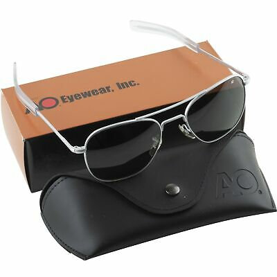 AO American Optical Aviator Matte Chrome Frames 55 mm Sunglasses Gray (Chrome Lens Sunglasses)