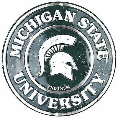 Michigan State University Spartans Embossed Metal 12  Circle Sign