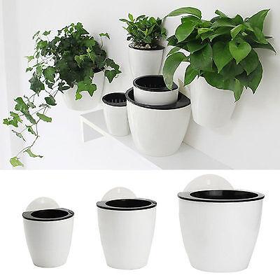 Creative Self Watering Plant Flower Pot Wall Hanging Plastic Planter Home Garden