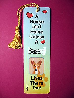 """Basenji"" A House Isn't Home -Tassel Bookmark (flag gold tassel) Sku# 46"