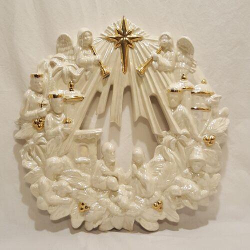 "Nativity Christmas Wreath Hand Painted Baby Jesus Angels Wisemen Mary 16"""
