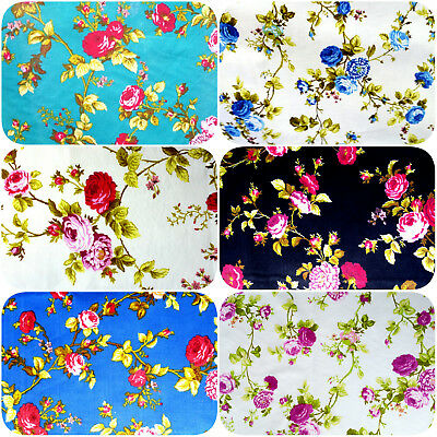 "Victorian Rose Floral Print Poly Cotton Fabric 60"" BY THE YARD ROSE GARDEN PRINT"