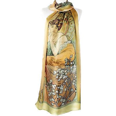 "Alphonse Mucha Precious Stones Topaz & Emerald Silk Floral Gold Green 70"" Scarf"