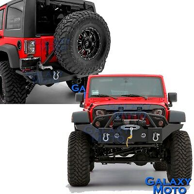 Rock Crawler 07-18 Jeep JK Wrangler Front+Rear Bumper+Tire Carrier+Fog Light Hol