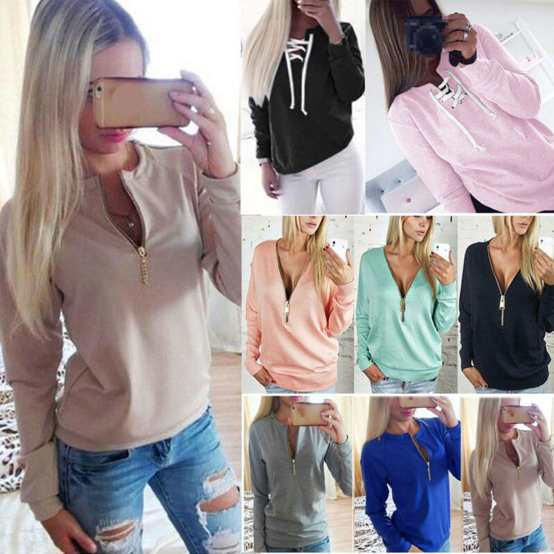 Women V Neck Zipper Sweatshirt Long Sleeve Sweater Pullover