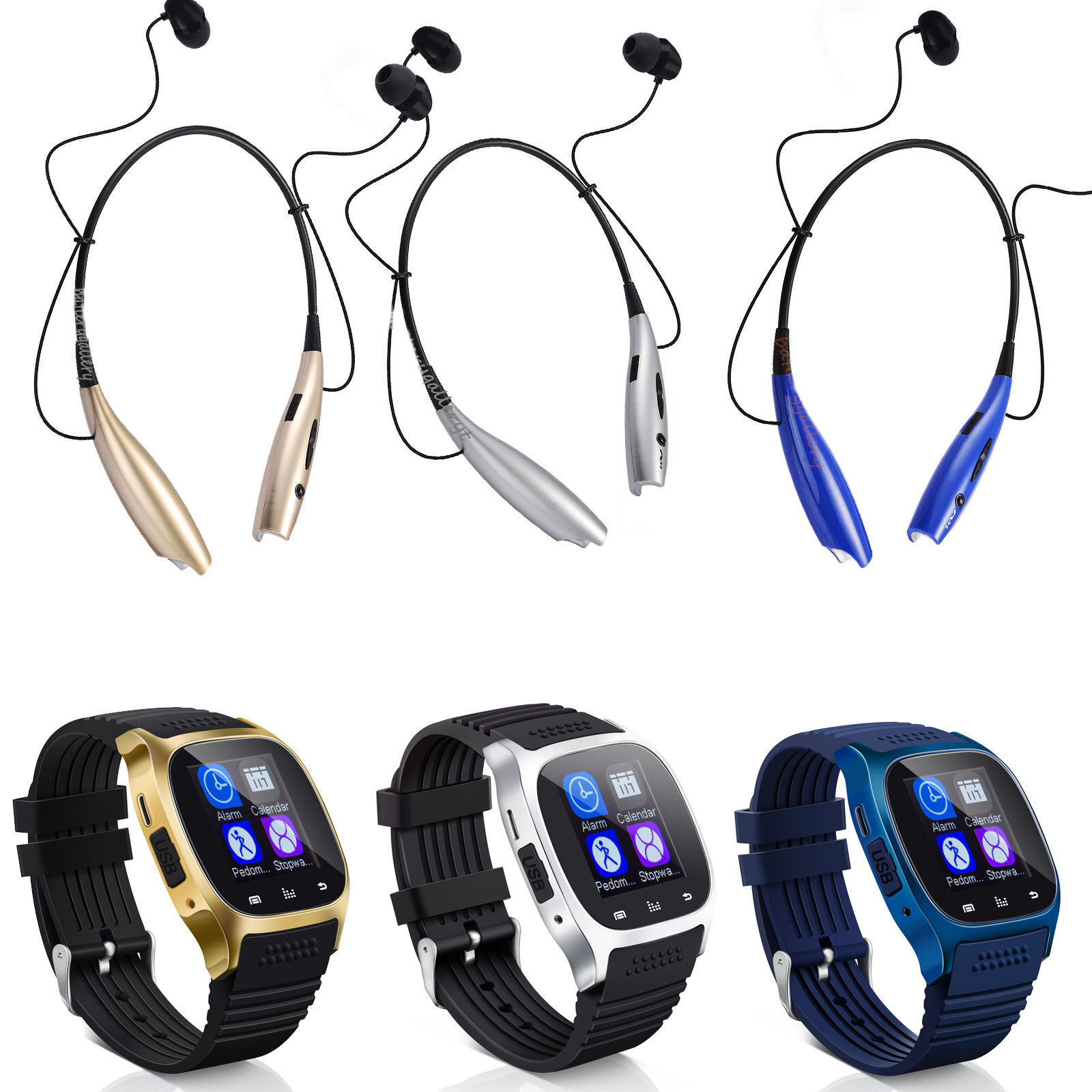 $17.99 - Bluetooth Smart Wrist Watch + Earphone For IOS Android iPhone Samsung HTC Huawei
