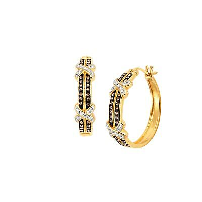 Striped 'X' Hoop Earrings with Swarovski Crystals in Gold-Plated Bronze