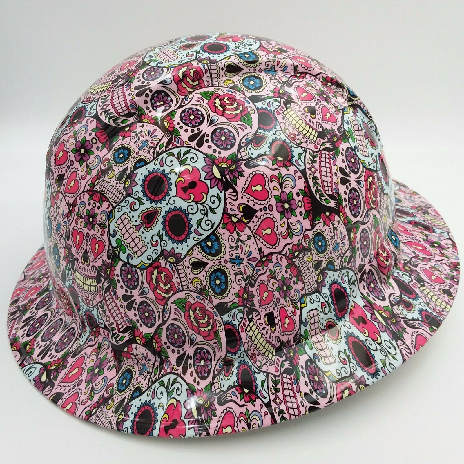 Hard Hat FULL BRIM custom hydro dipped , OSHA approved SUGAR SKULLS NEW 1