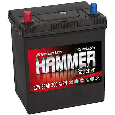 Autobatterie Hammer 12V 35Ah +Links Asia Starterbatterie ersetzt 32 34 36 40 Ah Duracell Starter