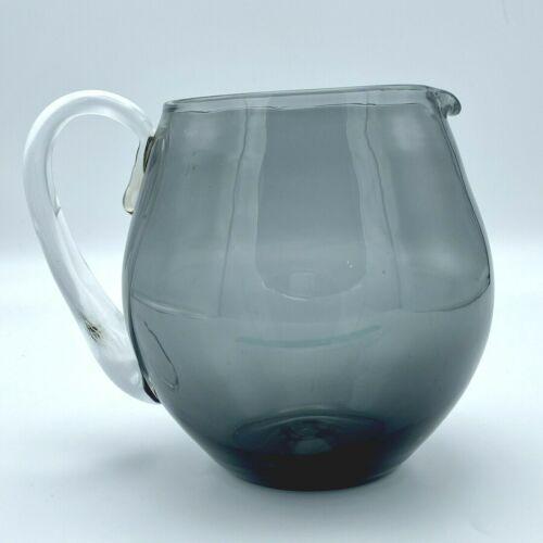 Blenko Pitcher 3750-L Charcoal Circa 1954 Studio Art Glass Hand Blown Smoke Gray