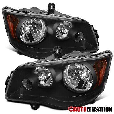 For 2011-2018 Dodge Grand Caravan Black Headlights Lamps Parking Pair