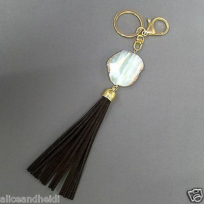 Gold Finish Real Natural Stone Brown Suede Tassel Designer Key Chain Purse (Designer Gold Keychain)