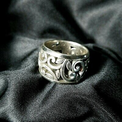 Brighton Giardino Ring Silver Plated Scrolls and Leaves Size 9