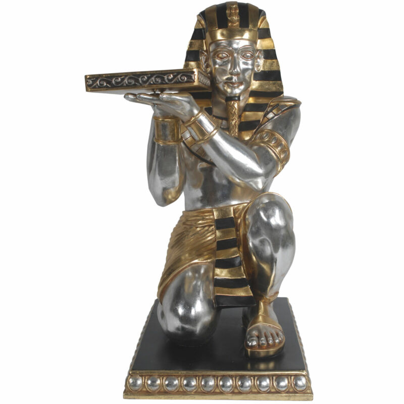 """37"""" Gold Kneeling King Tut with Tray Egyptian Décor Restaurant Kitchen"""