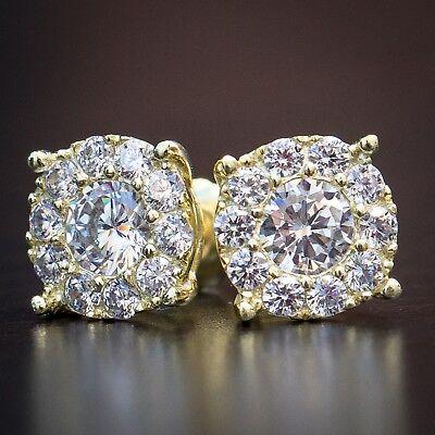 14K Yellow Gold 925 Sterling Silver Cz Cluster Flower Set Screw Back Earrings Yellow Gold Flower Earrings