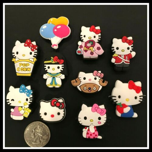 SET of 10 Shoe Charms for Crocs HELLO KITTY Anime Costumes Cleopatra Balloons