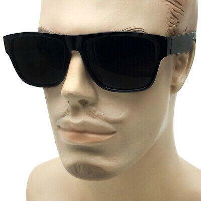 MENS Black Flat Top OG Motorcycle Style Sunglass New Super Dark Lens (Mens Sunglass Styles)