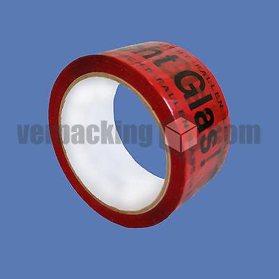 Vorsicht Glas Klebeband 66m x 50mm Hinweis PP Paketband Paketklebeband 36 Rollen