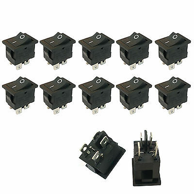 10 Pcs 4 Pin Onoff Dpst Boat Car Rocker Switch Button 6a Black Us Stock