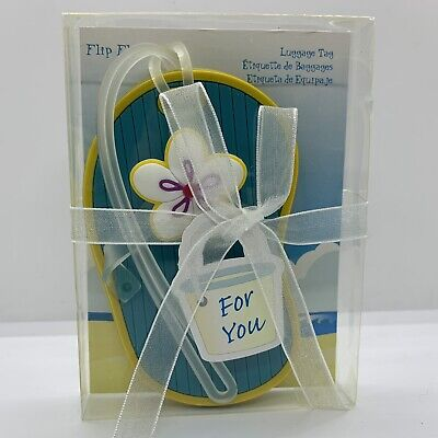 Kate Aspen Teal Flip Flop Luggage Tag Travel Silicone Unique New in Package