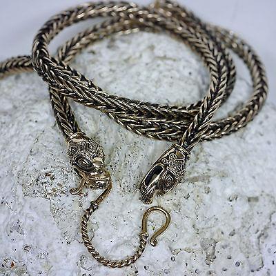 deftige Bronzekette L:65 Drachenkopf mit Verbinder Handgeflochten Wikingerkette