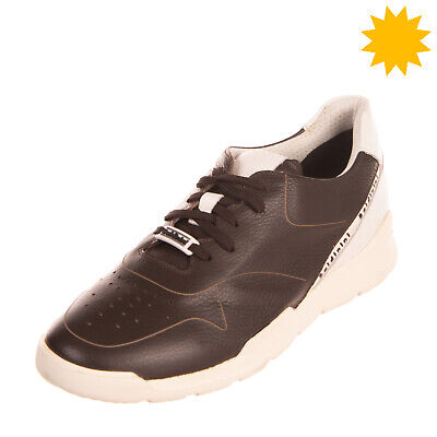 RRP€270 BALDININI Leather Sneakers EU42 UK8 US9 Live Tech Grainy Made in Italy