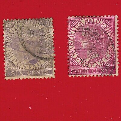 1882 - 1889 Straits Settlements Queen Victoria Postage Stamp 4c & 6c Perf 14