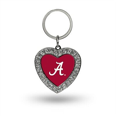 Ncaa Keychain Ring - ALABAMA CRIMSON TIDE RHINESTONE HEART BLING KEYCHAIN NCAA KEY RING