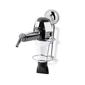 caricamento dellimmagine in corso accessori bagno porta phon asciugacapelli acciaio cromato ventosa