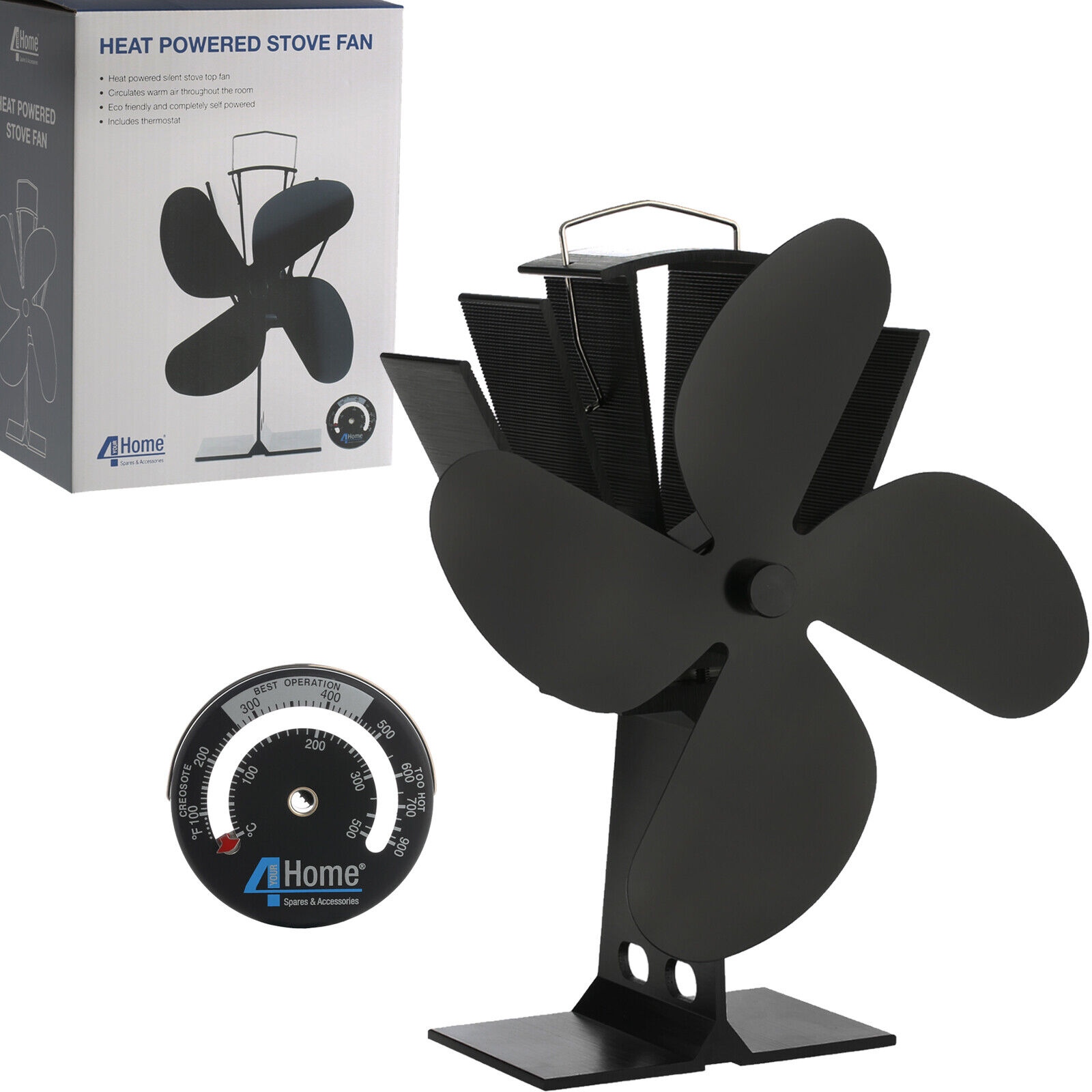 HIGH QUALITY BLACK HEAT POWERED WOOD STOVE FAN
