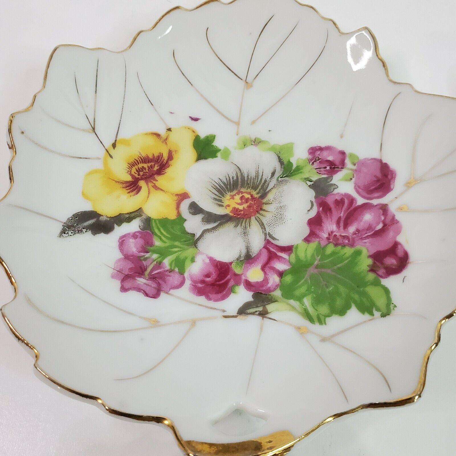 Vintage Leaf Shaped Japan Trinket Dish Hand Painted Gold Trim Transfer Flowers 4 - $24.95