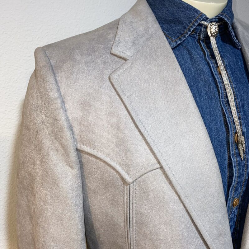 Vtg 70s PRESTIGE WEST Western Suit Jacket Coat Blazer COWBOY Gray Suede Mens 44