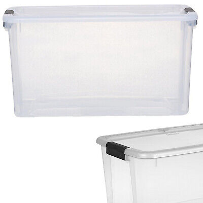 STORAGE TOTE BOX Plastic Organizer 54 Qt Clear Container Latch Lid Stackable Bin (Stackable Containers)