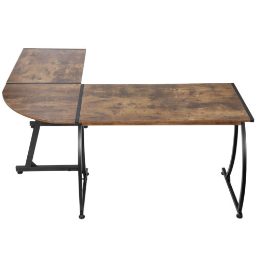 L-Shaped Corner Desk Computer Gaming Desk PC Writting Table Home Office Brown Furniture