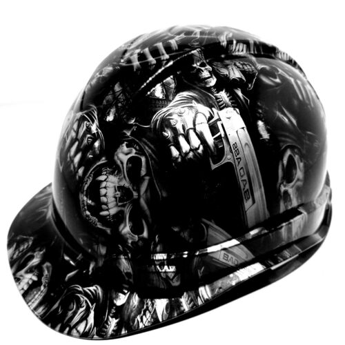 Hard Hat custom hydro dipped ,GRIM REAPER SHOOTER STEEL GREY OSHA APPROVED 2