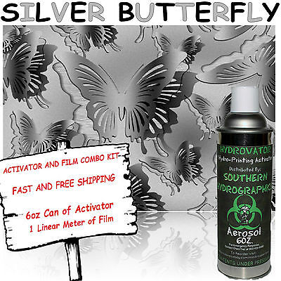 HYDROGRAPHIC FILM WATER TRANSFER HYDRO DIP 6OZ. ACTIVATOR W/ SILVER BUTTERFLY