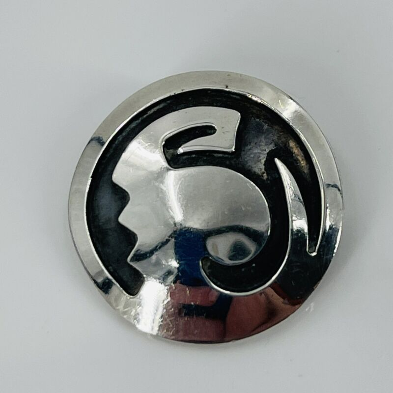 Vintage Sterling Silver Hopi Round Shield Profile Brooch Unsigned