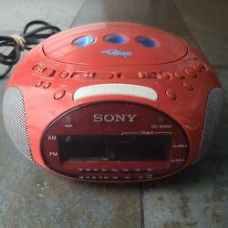 Sony Psyc Dream Machine AM FM Clock Alarm Radio CD Player Red ICF-CD831 Tested