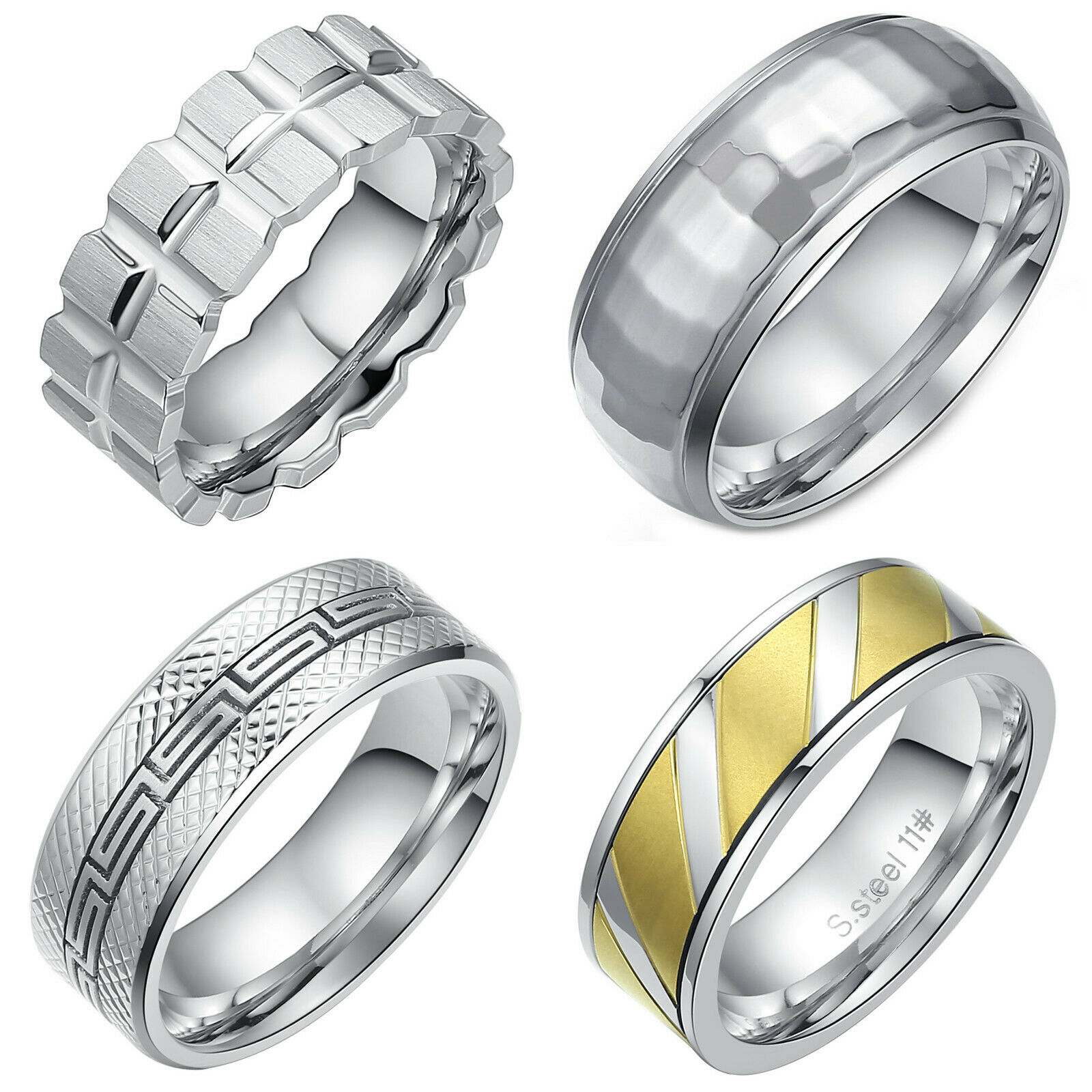 Men's Ring Stainless Steel  Polished Comfort Fit Wedding Band (US Seller) Jewelry & Watches