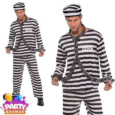 Mens Jailbird Con Costume Adult Prisoner Convict Fancy Dress Halloween