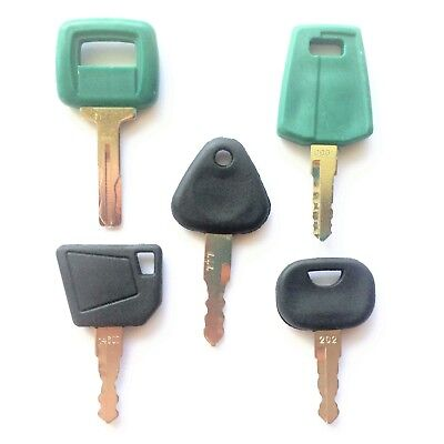 5 Volvo Equipment Ignition Keys - Heavy Equipment Key Set With Laser Cut Key