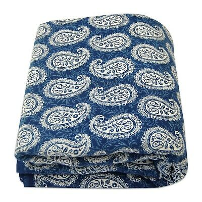 Hand Block Paisley Printed Cotton Fabric 10 Yards Indigo Blue Dressmaking Sewing