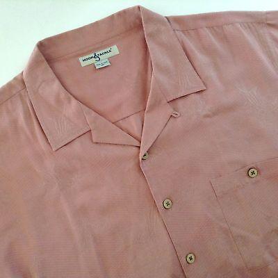 Hook & Tackle Rose Tone On Tone Shirt Fish Boats Silk Blend 2XL