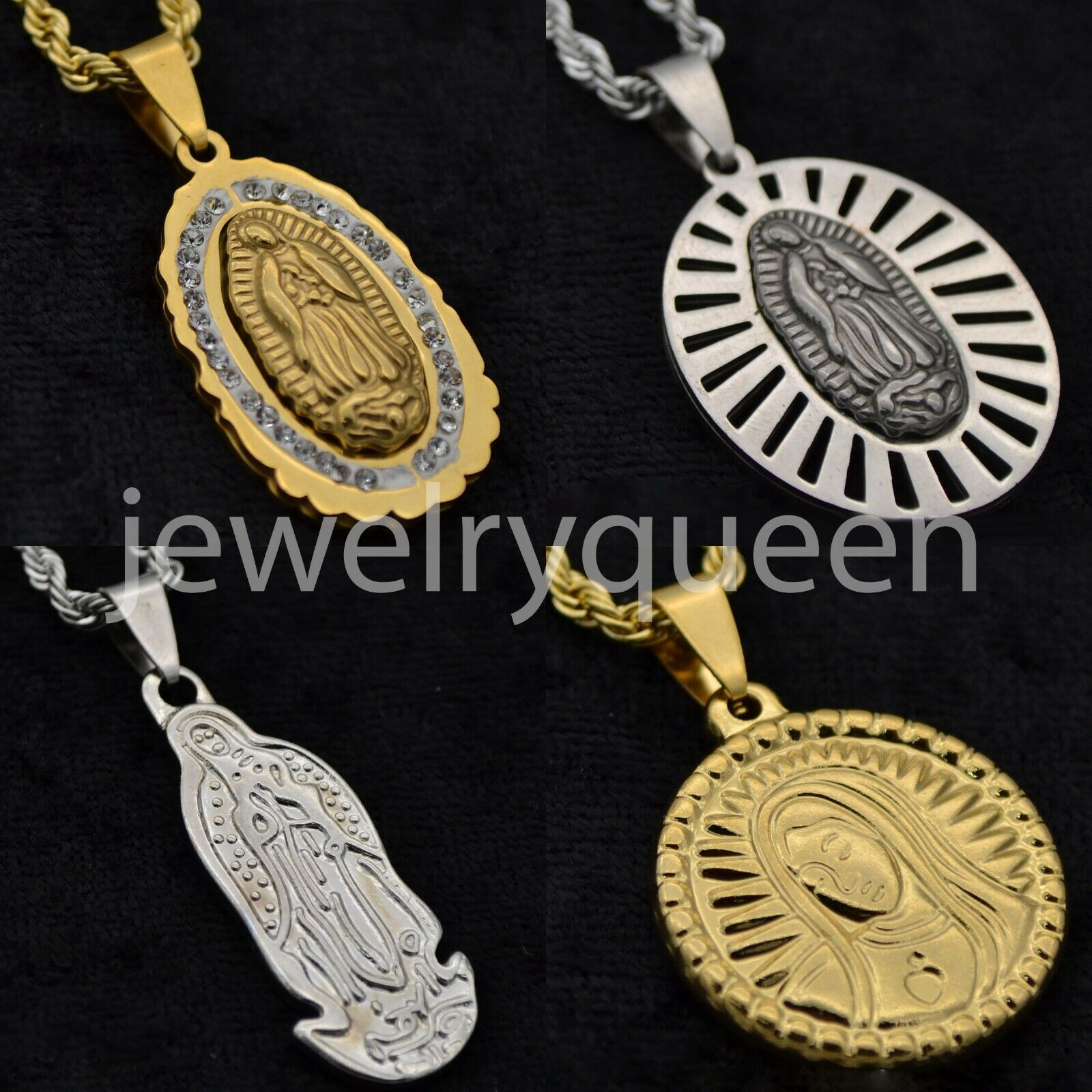 Men Stainless Steel Gold Silver Virgin Mary Pendant Necklace Rope Chain