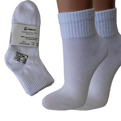 12 Paar Damen Quarter Kurzschaft Socken weiß 100% Baumwolle handgekettelt 312