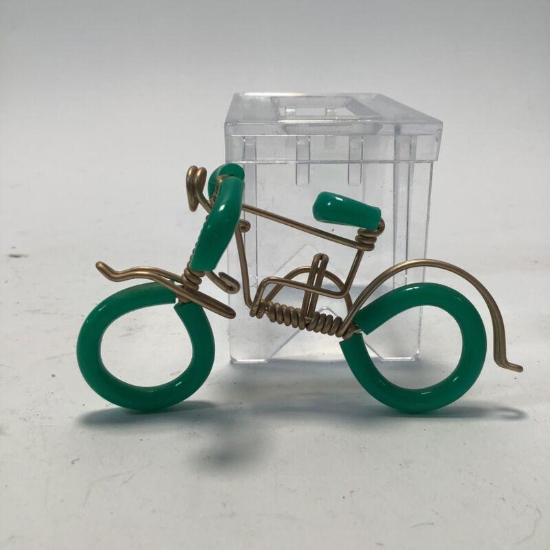 Miniature Wire & Green Bicycle Figurine