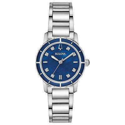 Bulova Women's Diamond Accents Quartz Blue Dial Bracelet 30mm Watch 96P195