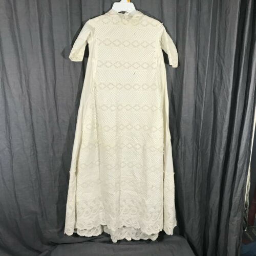 Unbranded Antique Cream Ivory Long Christening Gown Dress Baby