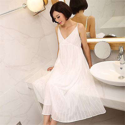 Womens Elegant Cotton Sling Nightgown White Pajama Sleepwear Sleep Maxi Dress